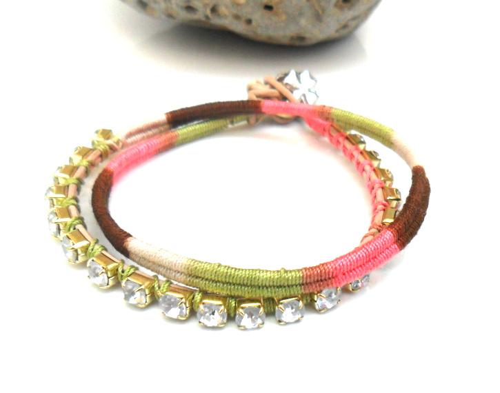 Friendship bracelet, rhinestone chain bracelet, double strand, cotton woven, boho chic fashion earth tones spring 2012 trendy under 30