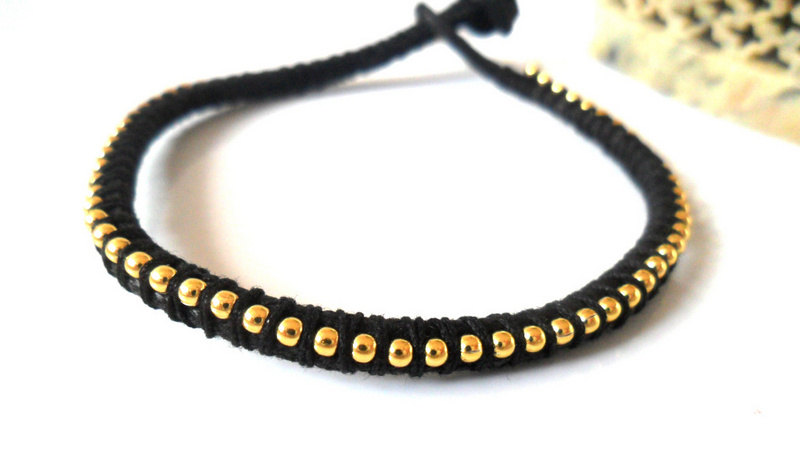 Black friendship bracelet, ball chain gold Black bracelet trendy Metallic fashion Bracelet stack