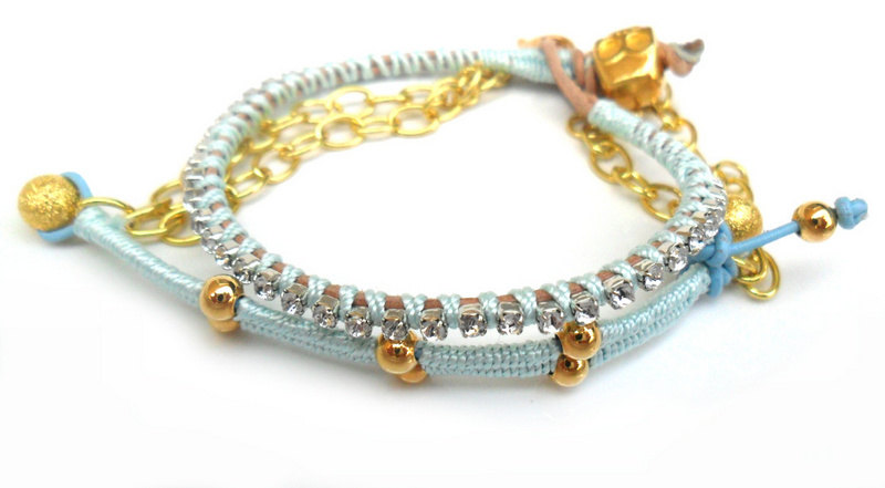 Friendship Bracelets leather skull rhinestone crystal chain silk braid stackables - Metallic fashion set of two spring 2012 for her under 35