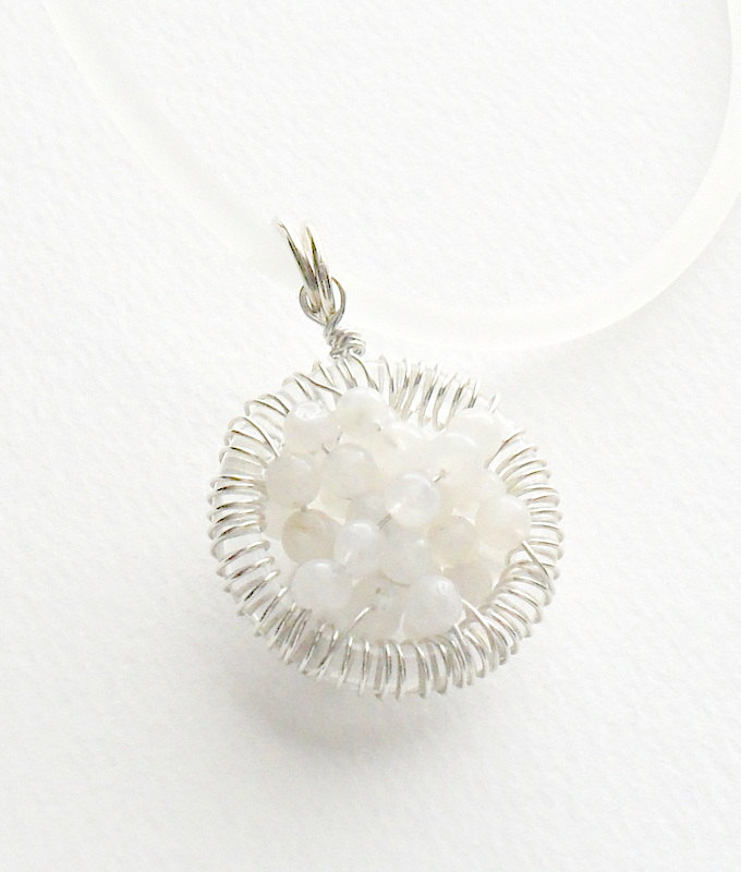 Moonstone necklace, Sterling Silver wire wrapped pendant, &quot;Full of wishes&quot; Fertility necklace, mother's day, gift for her under 30