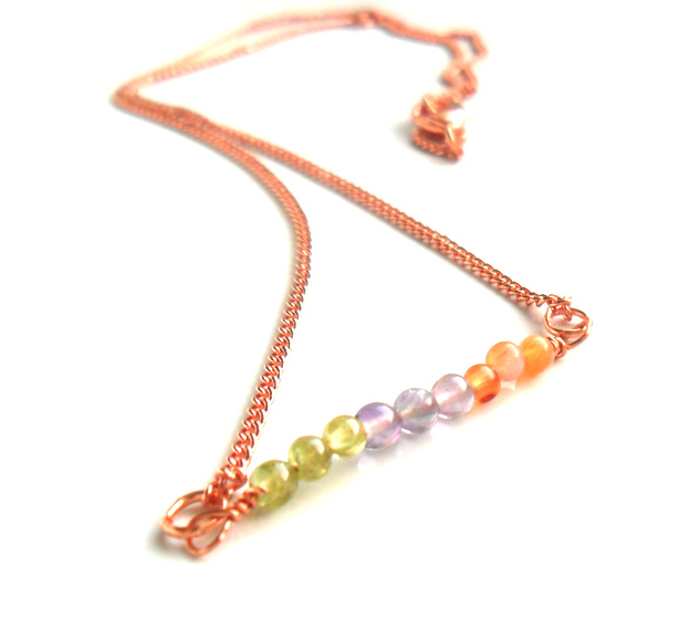 Simple Delicate Copper necklace, gemstone bar Peridot, Amethyst,Carnelian beads Everyday jewelry, metallic Minimalist Copper jewelry