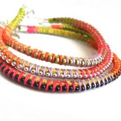 Friendship bracelet leather ball chain set of three