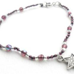 Amethyst silk bracelet, silver sea star charm, hand knotted- Jelly Fish - Gift for her under 15