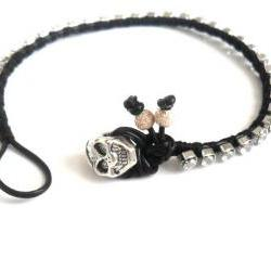 Friendship bracelet leather rhinestone crystal chain silk woven stackables Trendy fashion Black silver skull spring 2012 for her under 20
