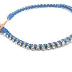 Rhinestone friendship bracelet, silk woven, Trendy bracelets, stackables - Metallic Abyss fashion spring 2012 for her under 20