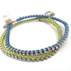 Friendship bracelet, rhinestone chain, silk woven, trendy bracelets, Metallic Zing fashion spring 2012 for her under 20