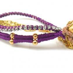 Friendship Bracelets leather skull rhinestone chain Galaxy silk braid stackables - Metallic fashion set of two spring 2012 for her under 35