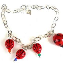 Lady bug charm Bracelet Sterling Silver chain, ladybug Glass bump beads. Me and MyLadies. Mother's Day gift for her under 15 Spring 2012