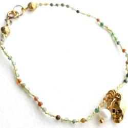 Charm Bracelet Multicolor Agate hand-knotted in silk with gold skull and freshwater cultured white pearl charms.