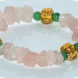 Bracelet Rose quartz Kelly green Jade happy gold skulls bracelet. Elastic bracelet Day of the dead gift Under 10 for her
