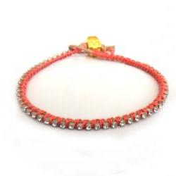 Leather Bracelet skull rhinestone crystal chain silk braid stackables - Metallic fashion coral reef spring 2012 for her under 20