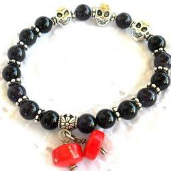 Skull Bracelet Amethyst, Onyx, Coral, Silver. Day of the dead Gothic bracelet. Fashion Gift for Her Under 15