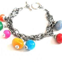 Bracelet gunmetal double textured chain multicolored chunky beads -Bubbles- Metallic high fashion bracelet valentine&#039;s gift for her under 30