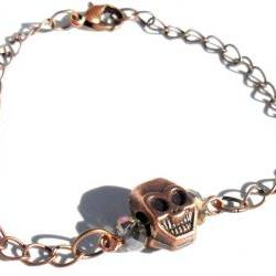 Skull Bracelet copper chain smoky faceted crystals copper skull. fashion bracelet valentine&#039;s gift for her under 10