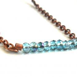 Tiny blue horizon faceted crystal beads bar necklace, copper chain, delicate jewelry for everyday, mother&#039;s day gift Under 25