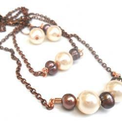 Pearls bar necklace, earth tones, set of three, Fashion, metallic, mother&#039;s day gift for her under 35