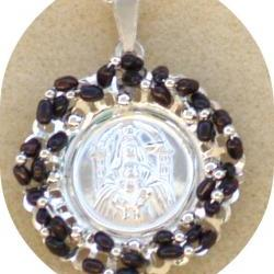 Pendant Medallion wire wrapped black pearls sterling silver beads - Our Lady Coromoto - Statement Pendant Catholic gift for her under 60