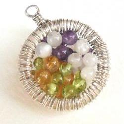 Moonstone, Amethyst, Peridot, Citrine, Sterling Silver wire wrapped Pendant, multi gemstone Necklace, Fertility, Mother&#039;s day, gift for her