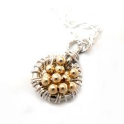 Necklace Pendant Charm sterling silver Gold filled beads -Full of wishes- Metallic. Valentine&#039;s Gift For Her Under 30