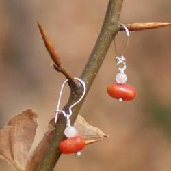 Dangle earrings sterling silver red coral moonstone Valentine&#039;s gift for her under 10 fashion
