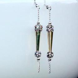 Dangle Earrings Silver Crystal ball. Chain Dangle earrings Disco Fashion Valentine&#039;s Gift. For Her. Gift Under 15