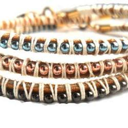 Friendship Bracelets Leather ball chain braid stackables trendy Metallic fashion Natural summer 2012 for her under 25 set of three