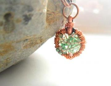 Copper Wire Wrapped Pendant Green Agate Necklace
